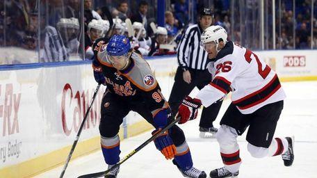John Tavares of the Islanders skates with the