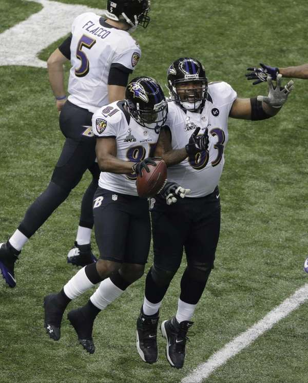 Baltimore Ravens wide receiver Anquan Boldin celebrates with