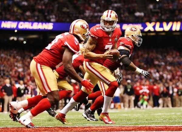 Colin Kaepernick of the San Francisco 49ers turns