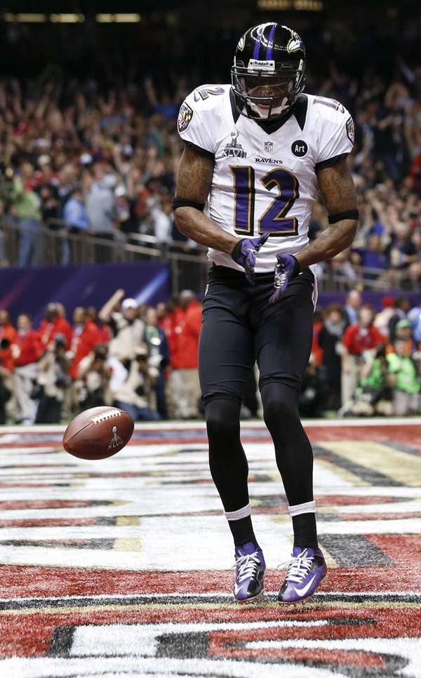 Baltimore Ravens wide receiver Jacoby Jones celebrates his