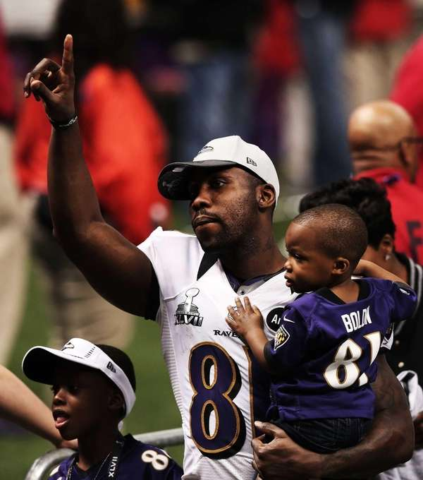 Anquan Boldin #81 of the Baltimore Ravens celebrates