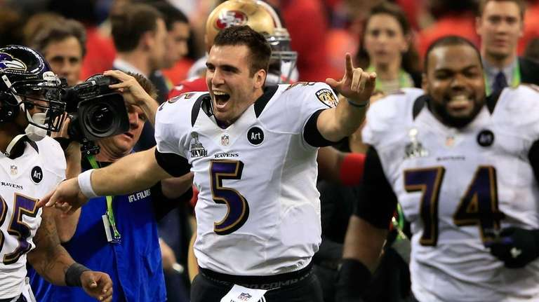 Joe Flacco of the Baltimore Ravens celebrates with