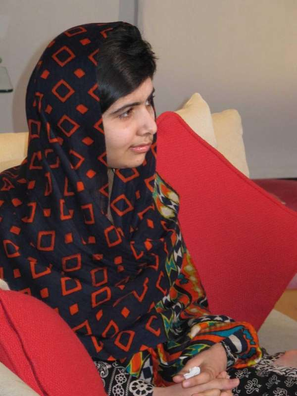 Fifteen-year-old Malala Yousefzai relaxes. The Pakistani girl shot