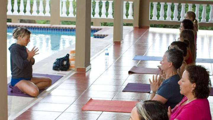 A yoga session in Rincon, Puerto Rico, at