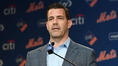 Mets General Manager Brodie Van Wagenen speaks during