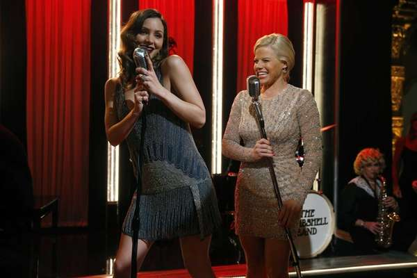 Katharine McPhee, left, and Megan Hilty on the