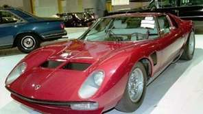A 1971 Lamborghini Miura is displayed. (March 12,