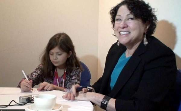 Chief Justice Sonia Sotomayor with Kidsday reporter Amelia