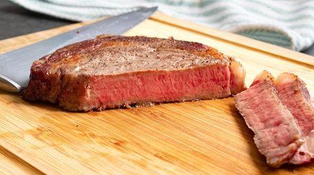 Reverse-seared rib eye steak.