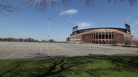 Citi Field and its parking lot sit empty