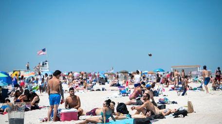 Beachgoers at Jones Beach on Saturday.