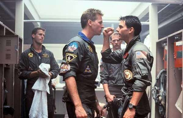 Val Kilmer, center, left, Anthony Edwards, center and