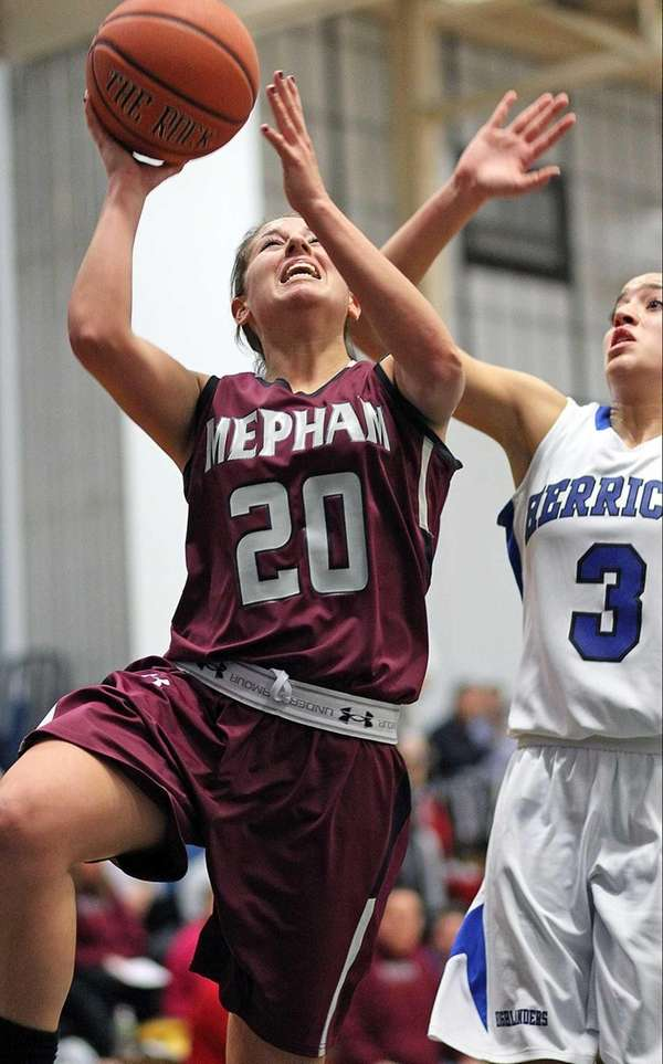 Mepham's Nicole Castaldo goes up for a layup