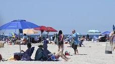 Beachgoers at field 6 at Jones Beach on
