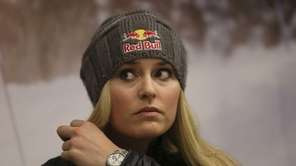 Lindsey Vonn gestures during a press conference in