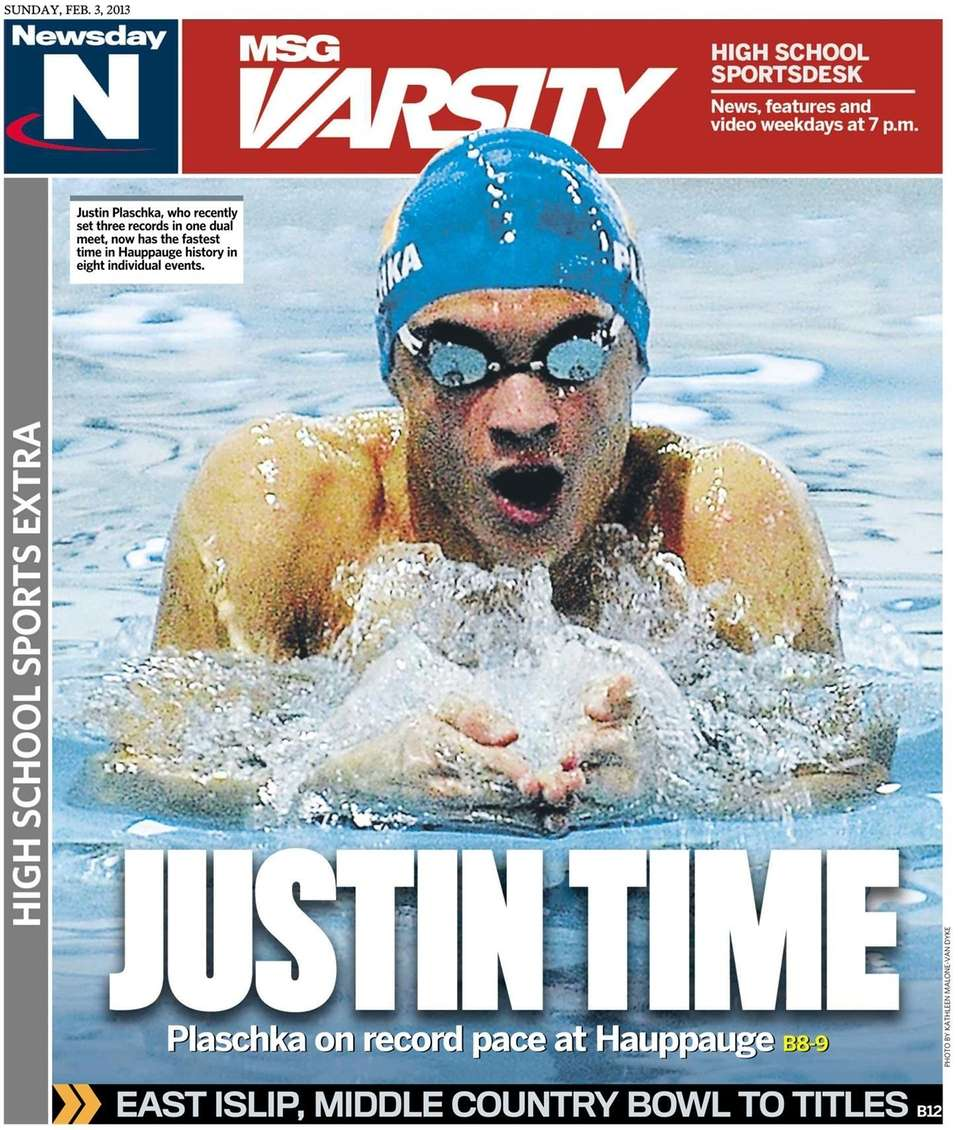 Hauppauge swimmer Justin Plaschka was featured on the