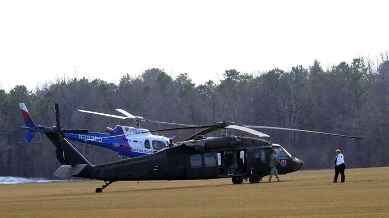 A National Guard Black Hawk helicopter made an
