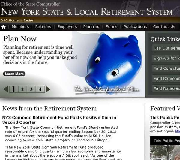 Screen grab from New York State Pension System