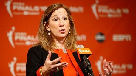 WNBA Commissioner Cathy Engelbert speaks at a news