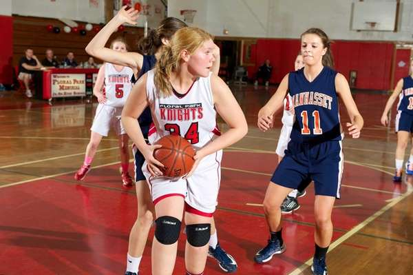 Floral Park forward Lorraine Hickman grabs a defensive