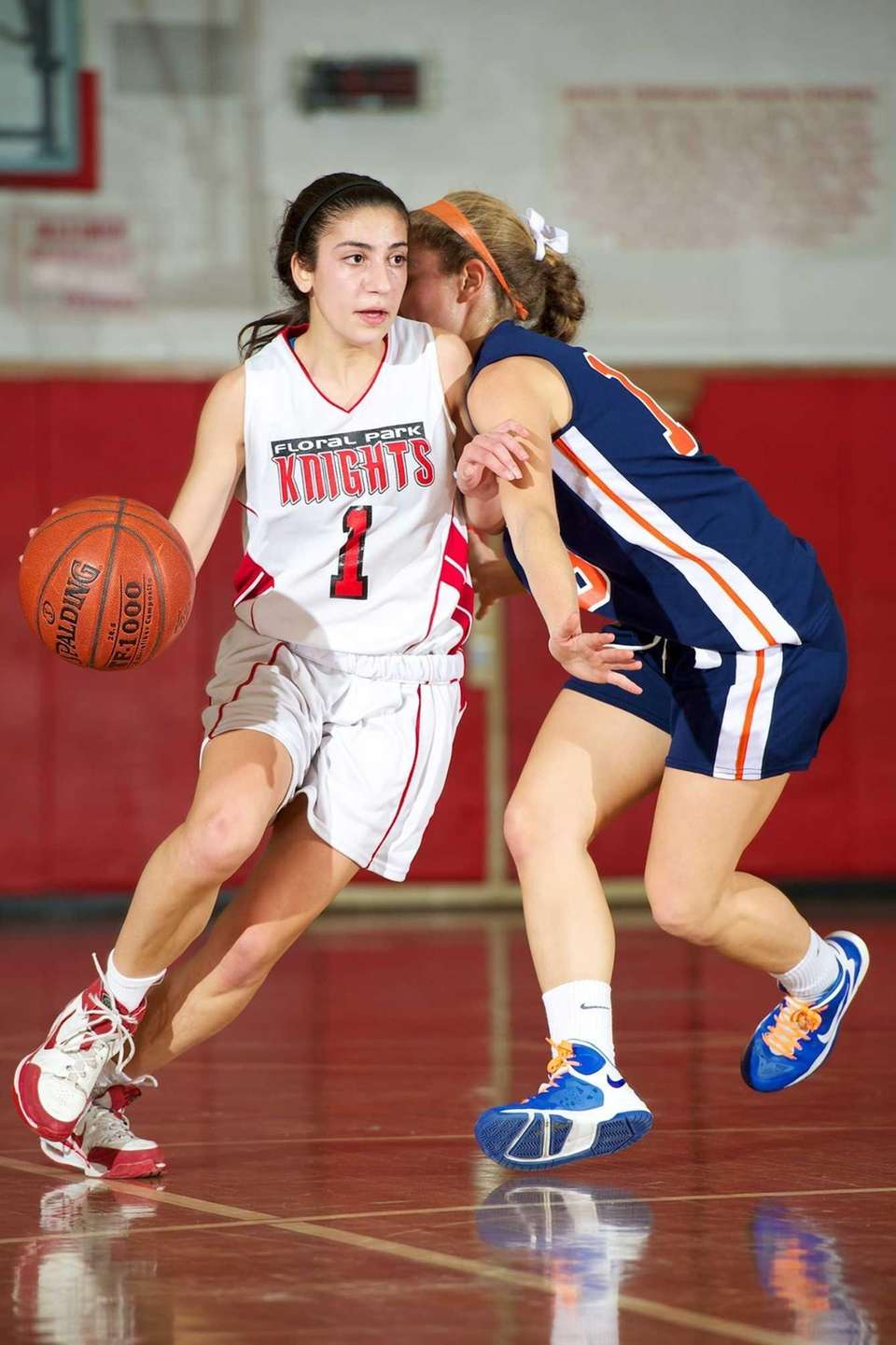 Floral Park guard Jeanna Orfanos dribbles the ball
