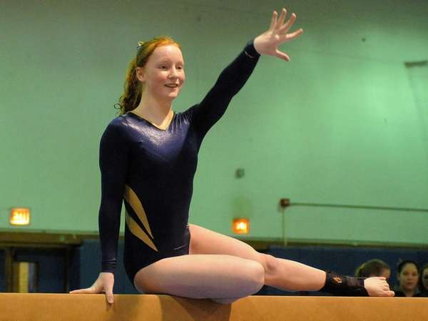 Sarah Wall of Massapequa performs on the balance