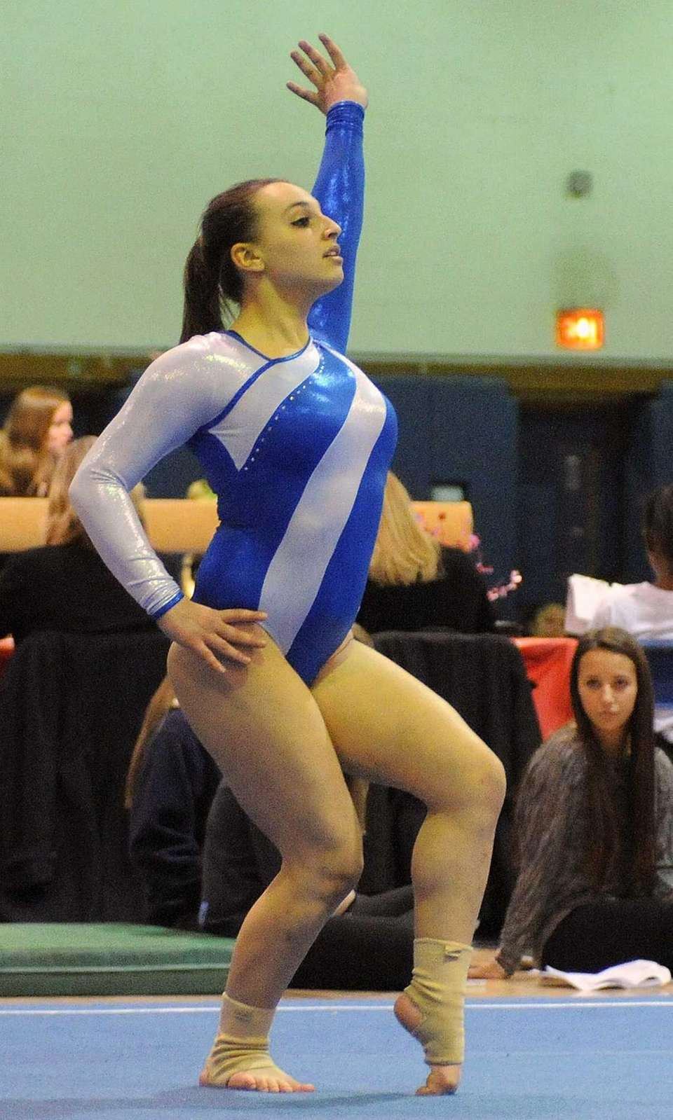 Lauren Bernstein of Plainview performs her floor routine