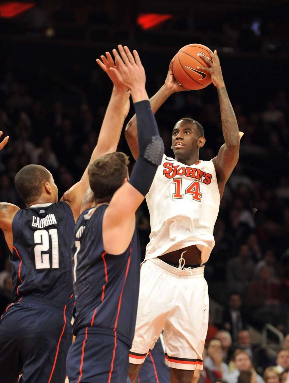 JaKarr Sampson of St. John's shoots over two