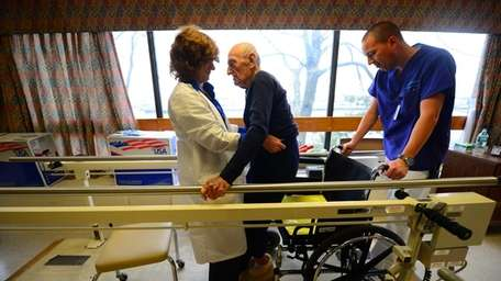 94 year-old Anthony Ferraiolla during physical therapy at