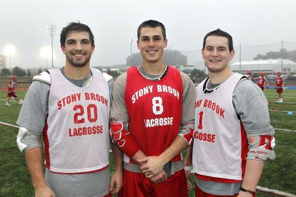From left, Stony Brook men's lacrosse senior midfielder