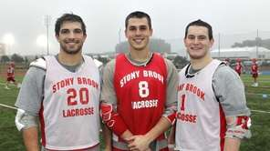 From left, Stony Brook men's lacrosse senior midfielder