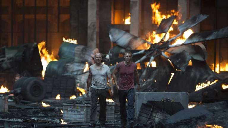Bruce Willis as John McClane and Jai Courtney