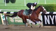 Tiz The Law trains at Belmont Park on