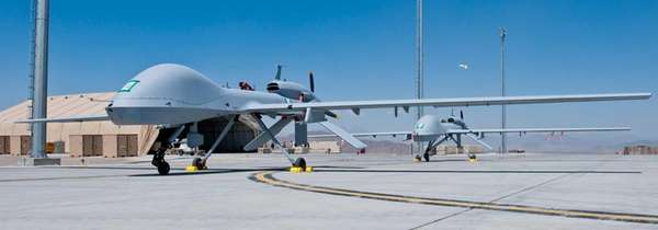 Two freshly assembled Grey Eagle unmanned aerial vehicles
