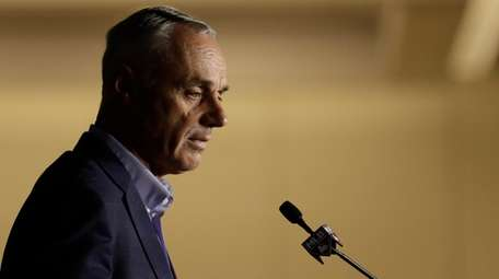 Commissioner Rob Manfred speaks during the Major League