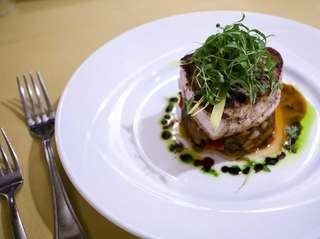 Five.Five 2's seared, snowy Montauk swordfish swims in