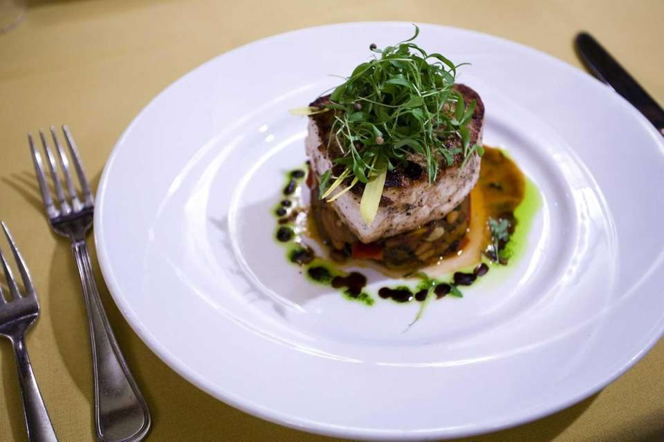 Five.Five 2's seared, snowy Montauk swordfish swam in