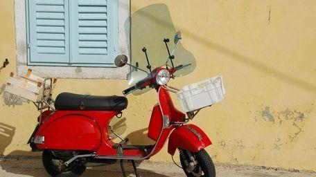 A vintage Vespa scooter
