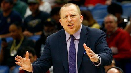 Minnesota Timberwolves head coach Tom Thibodeau reacts to