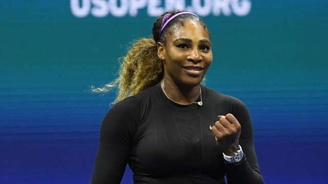 Serena Williams reacts after match point against Elina