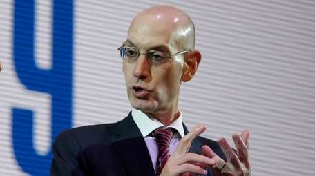 NBA commissioner Adam Silver speaks during a reception