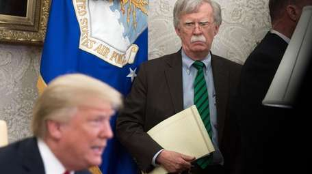 Then-national security adviser John Bolton with President Donald