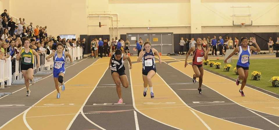 Manhasset's Kathryn Hallett wins the 55 meter dash
