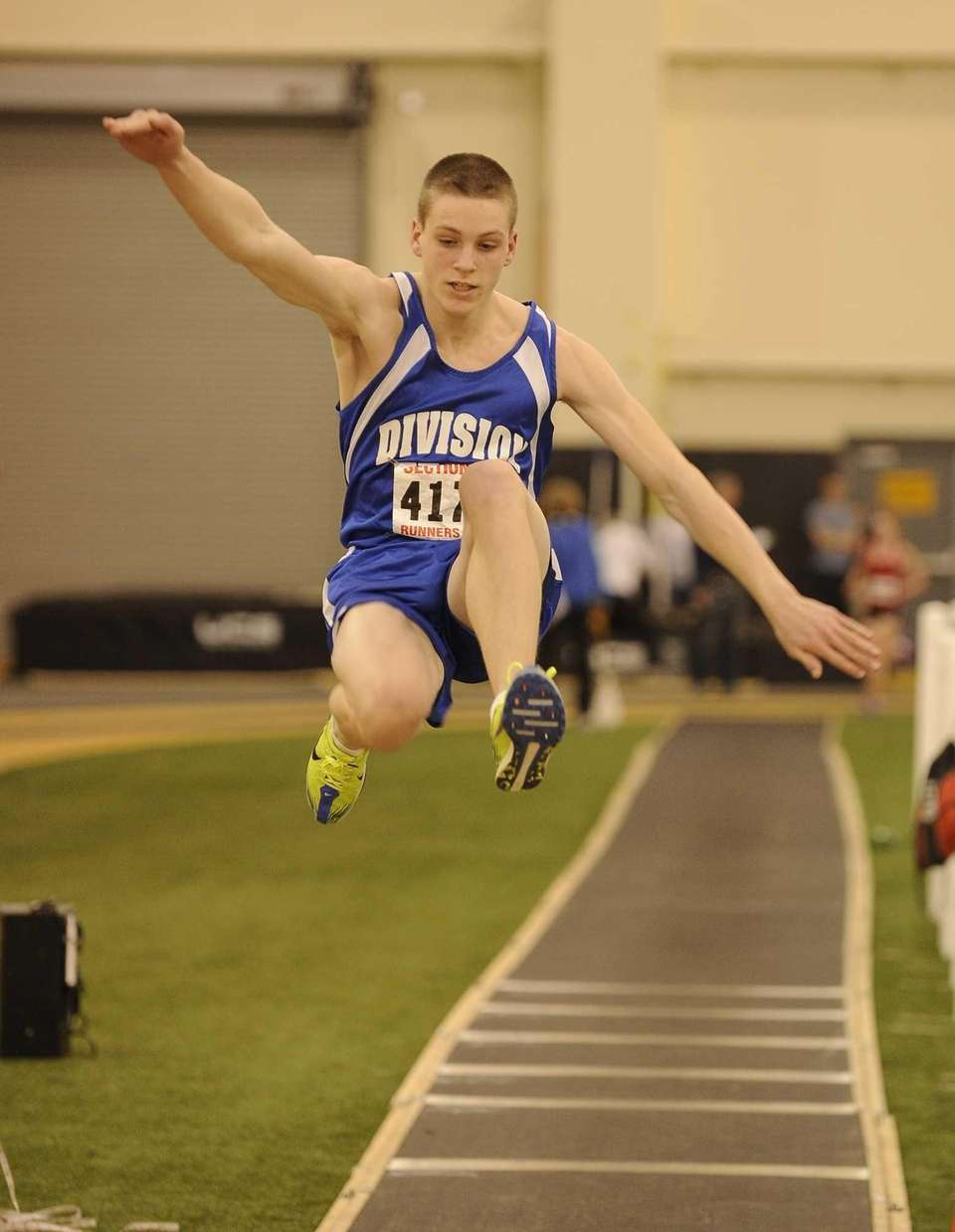 Division's Bjorn Bjornsson competes in the long jump.