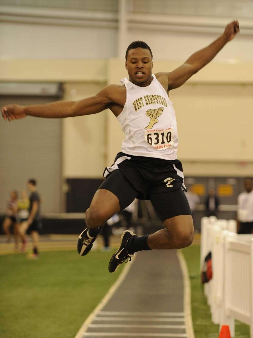West Hempstead's Tayvon Hall competes in the long