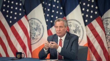 New York City Mayor Bill de Blasio, photographed