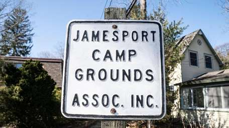 A sign on Jamesport's Campground Circle, the site