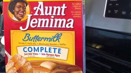A box of Aunt Jemima pancake mix sits