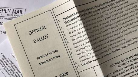 Official Suffolk County Absentee Voters school elections ballot.