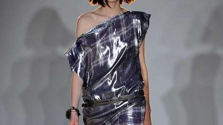 A model at the show for Edun, the